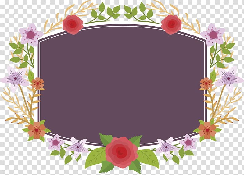Rectangular purple and multicolored floral frame.