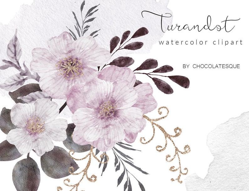 Floral clipart, mauve clipart, watercolor clipart, flowers clipart,wedding  clipart, planning elements, invitations clipart, diy invites.