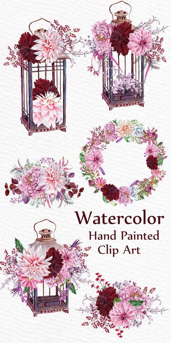 Watercolor Floral Bouquets clipart: