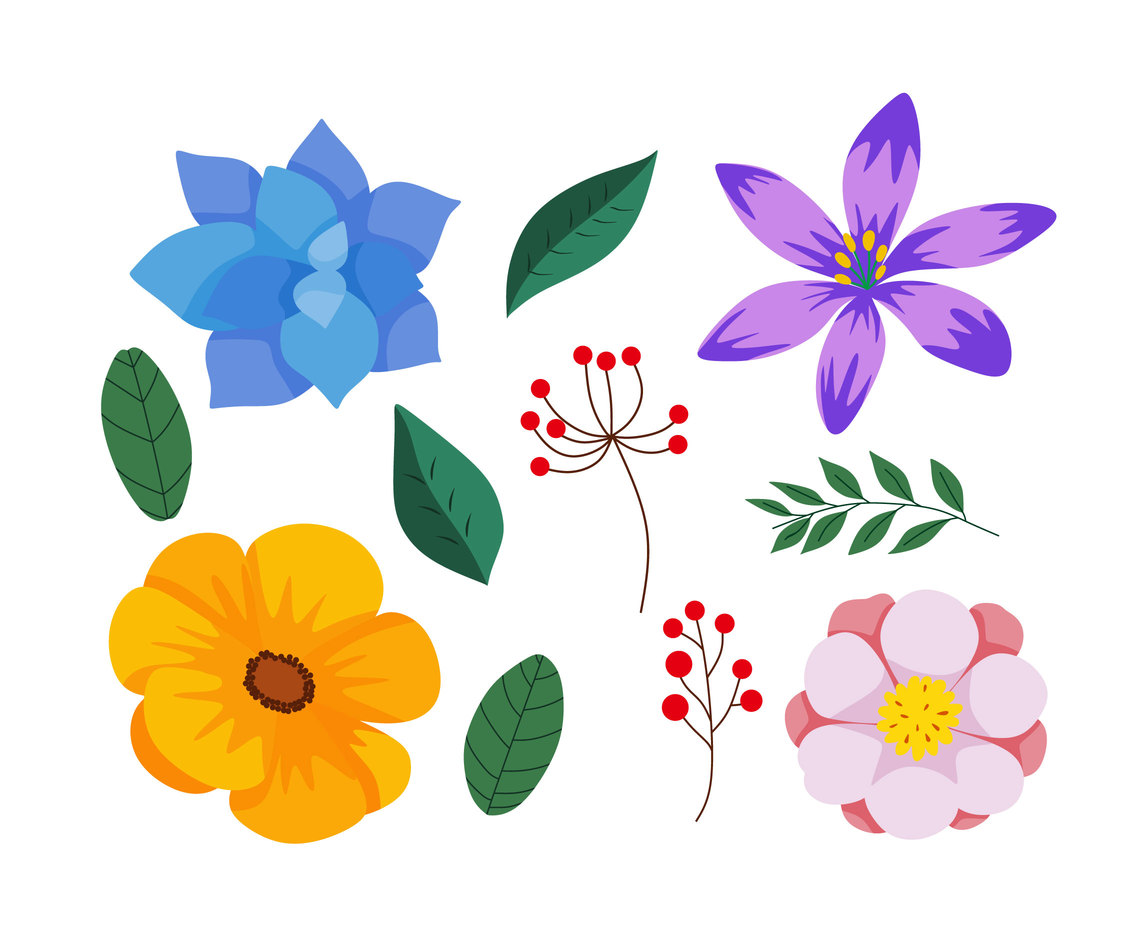 Colorful Flowers Clipart Vector Vector Art & Graphics.