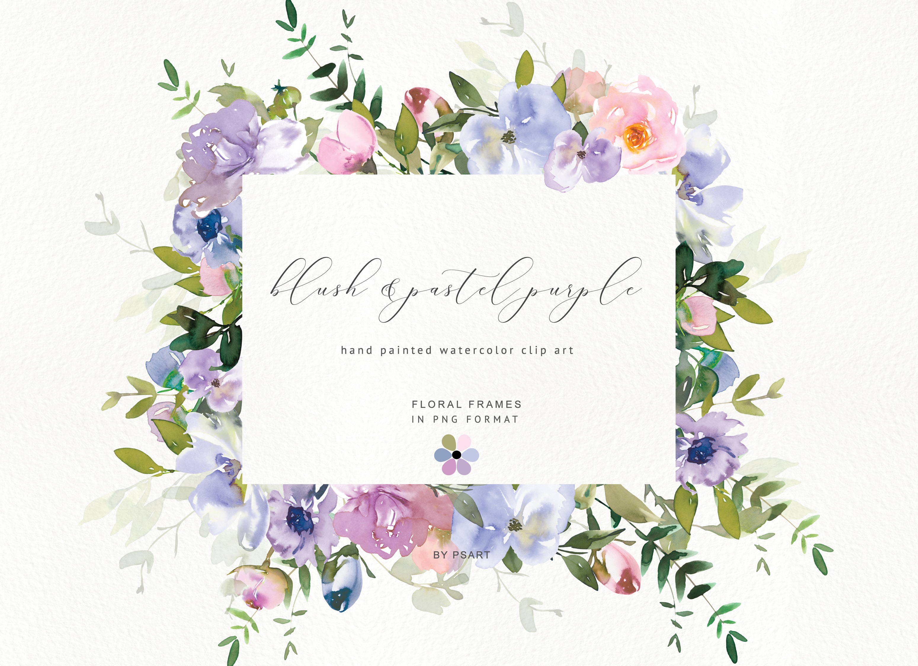 Watercolor Floral Clipart Blush Purple.