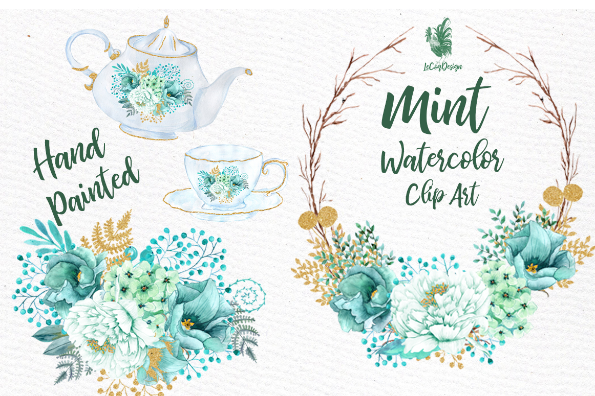 Mint Watercolor clipart WATERCOLOR FLOWERS Wedding Clipart Floral clipart  Floral Wreath Floral basket.