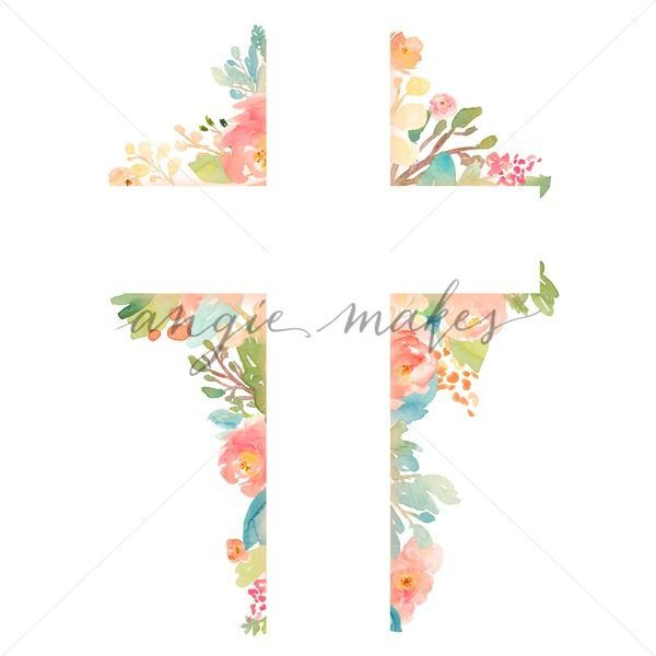 Watercolor Flower Cross. Lovely Watercolor Cross With Hand.