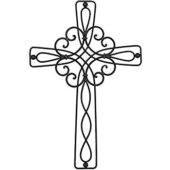 Dicksons Floral Open Intricate Black 17.5 Inch Metal Decorative Hanging  Wall Cross.