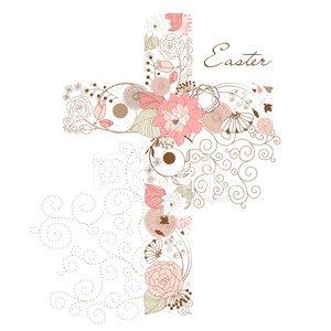 Floral Cross Shape Clipart Image.