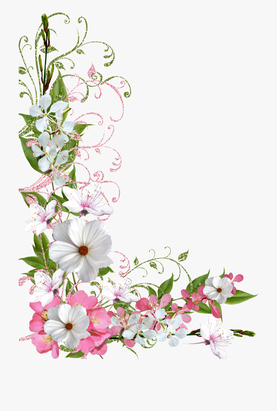 Pink And Green Spring Decor Png Picture Clipart.