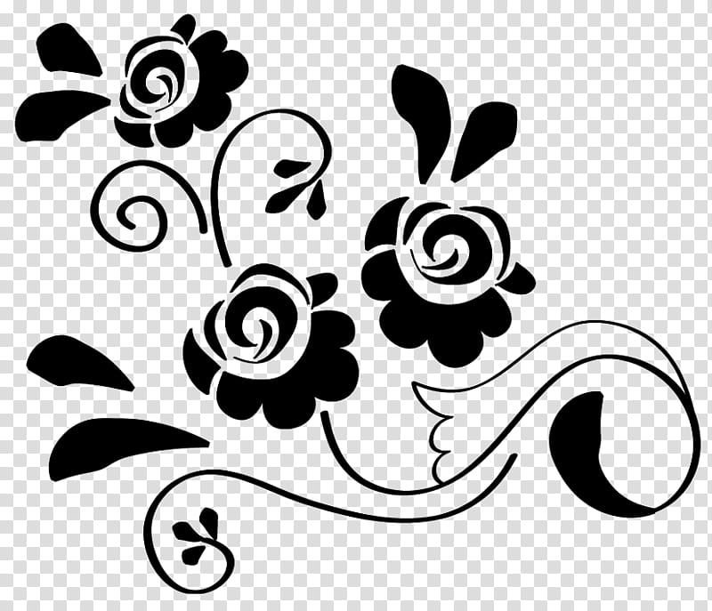 Flowers Design, black flower sketch transparent background.