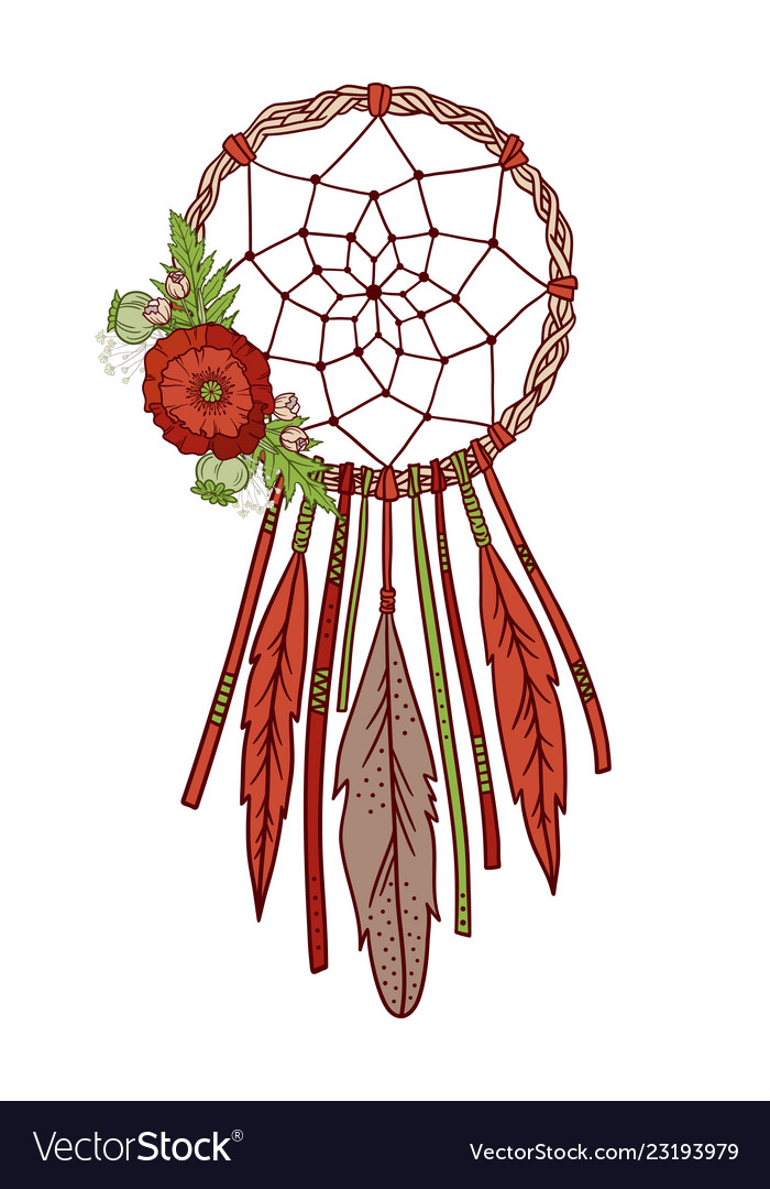 Dream catcher with feathers and flowers.