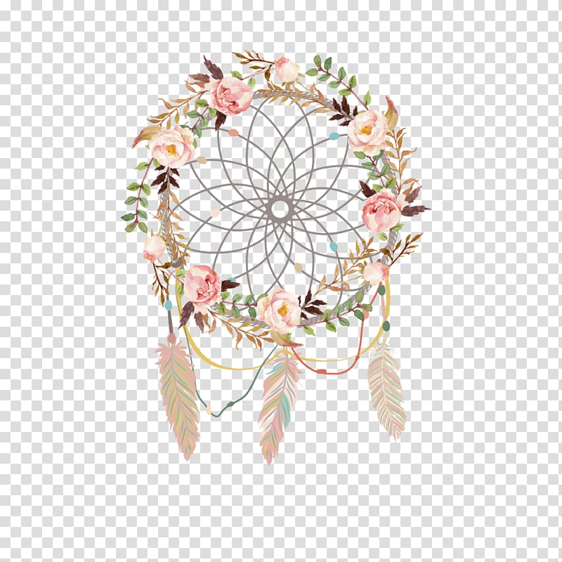 Pink and green floral dream catcher graphic, Wedding.