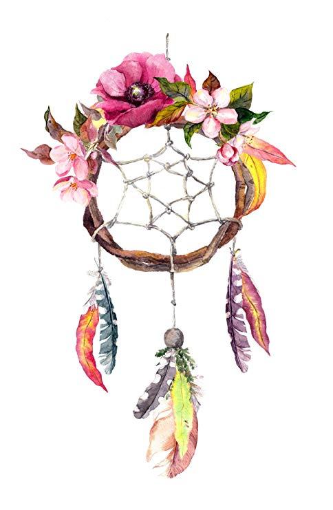 Divine Designs Pretty Watercolor Floral Feather Dream Catcher Vinyl Decal  Sticker (4\