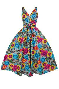 New Ladies 1950s Retro Vintage Floral Cotton Clip Art Daisy Swing.