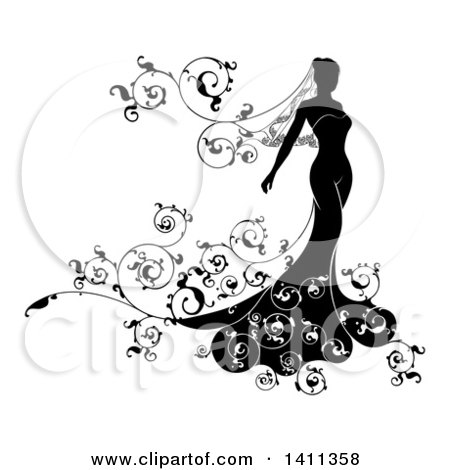 Clipart of a Silhouetted Black and White Bride in Her Dress, with.