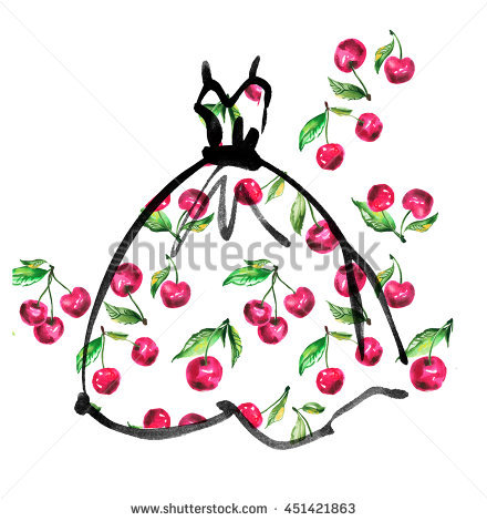 Fashion Girl Floral Dress Concept Watercolor Stock Illustration.