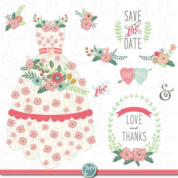 Wedding Clipart pack FLORAL WEDDING DRESS clip.