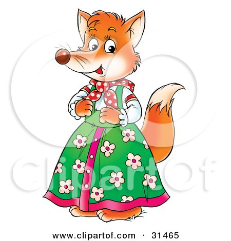 Clipart Illustration of a Female Fox In A Green Floral Dress by.
