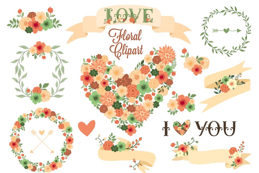 Floral Clip Art. Floral Elements..