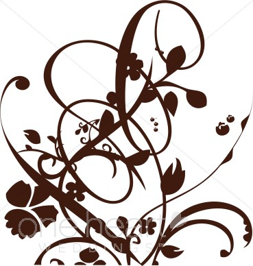 Green Brown and Floral Flourish Clipart.