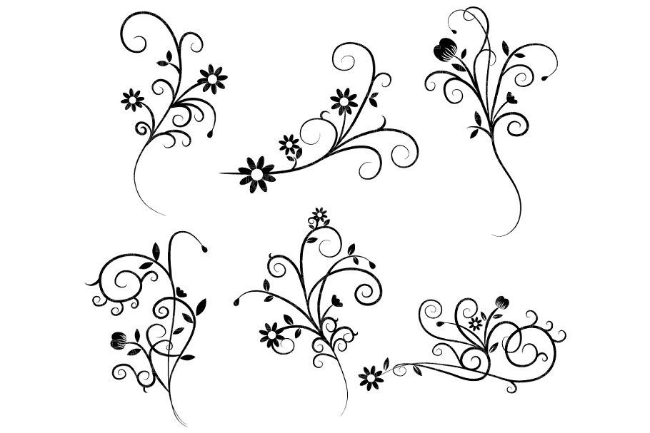 Flower Flourish Swirl Clipart.