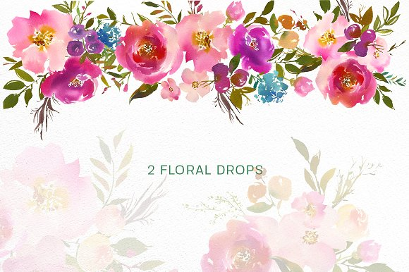 Spring Lush Watercolor Flowers PNG.