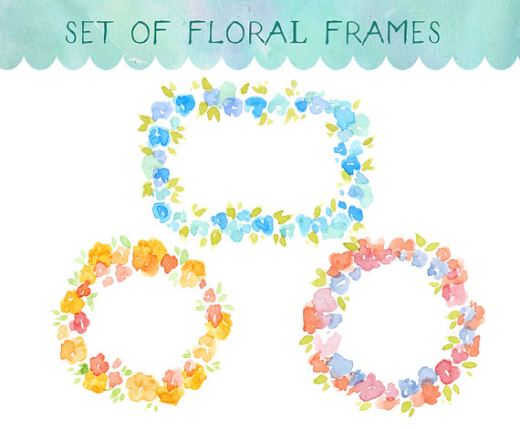 Watercolour Clipart Watercolor Flowers Floral Frame.