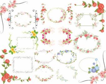 Floral frame clipart.