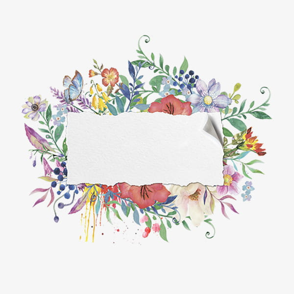 Hand painted watercolor floral frame material PNG clipart.