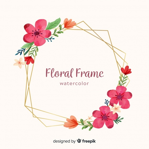 Free Watercolor floral frame SVG DXF EPS PNG.