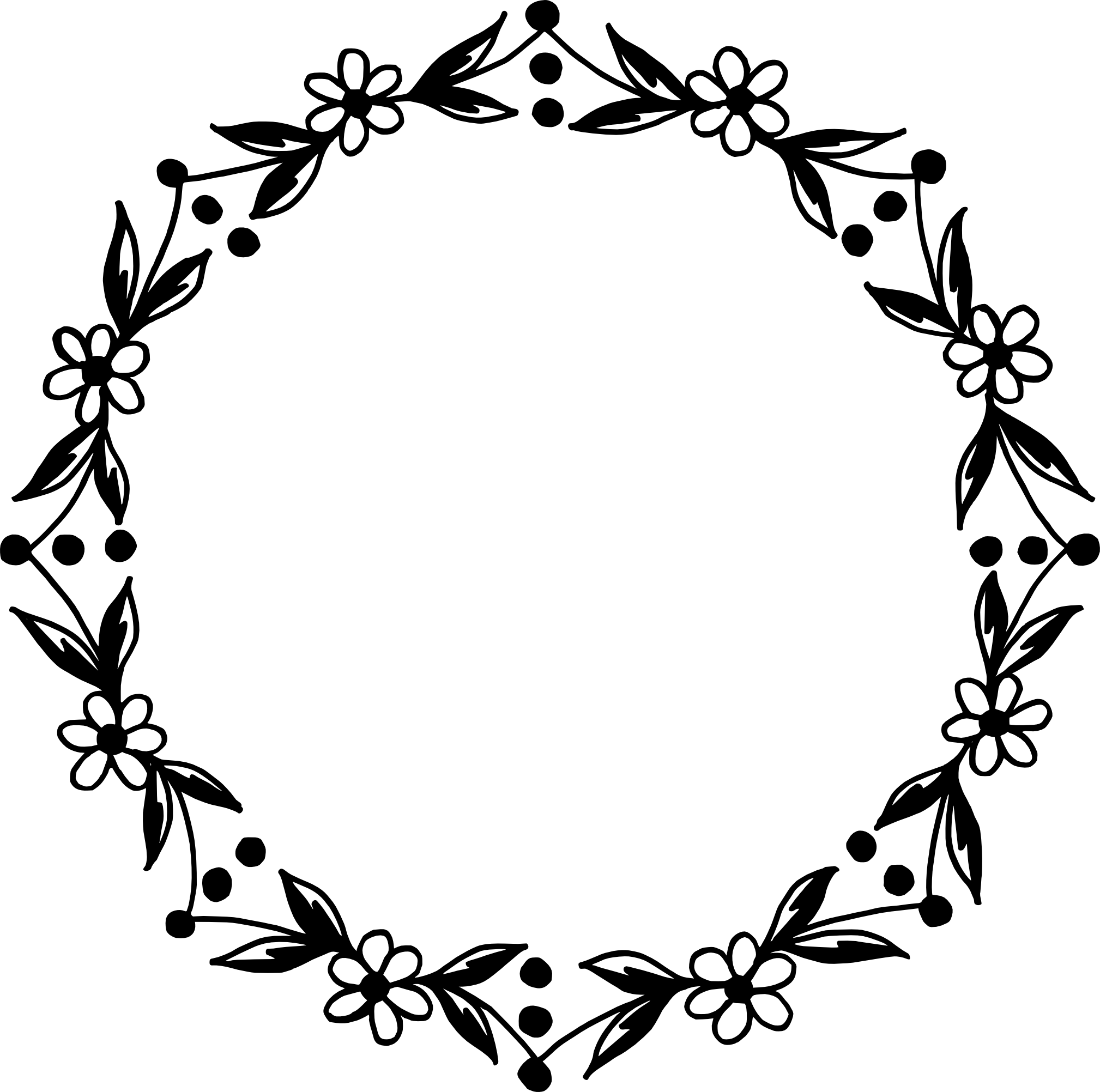 10 Circle Floral Frame Vector (PNG Transparent, SVG.