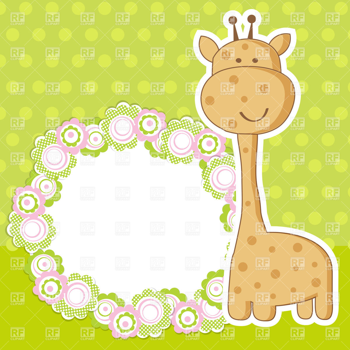 Round floral frame and cute giraffe Vector Image #23548.