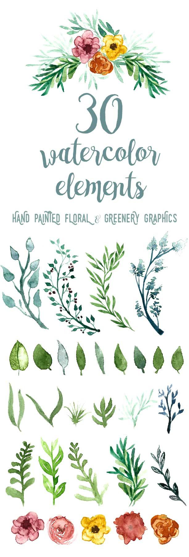 WATERCOLOR FLORAL GREENERY clipart, downloadable, commercial.