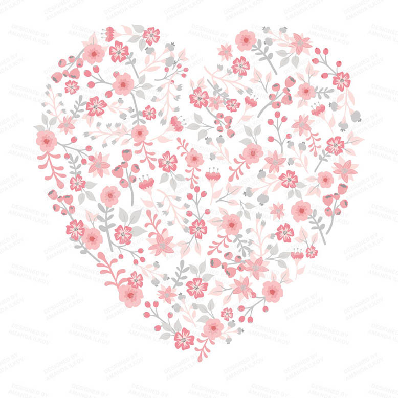 Floral Heart Clipart in Pink Grey   Mandy Art Market.