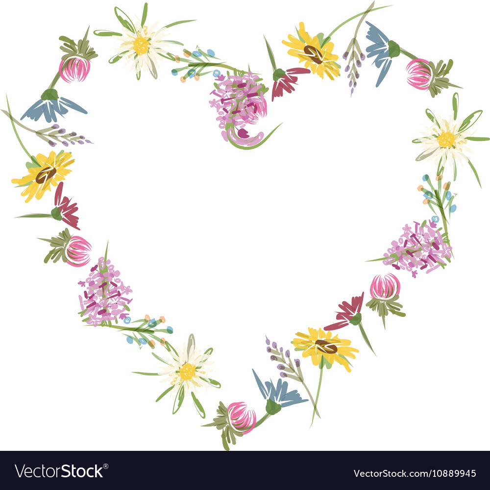 Floral heart sketch for your design.