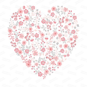 Spring Garden Floral Heart Clipart in Pink and Grey.