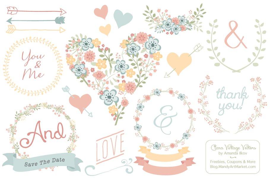 Pastel Floral Heart Clipart.