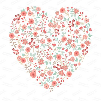 Spring Garden Floral Heart Clipart in Mint and Coral.