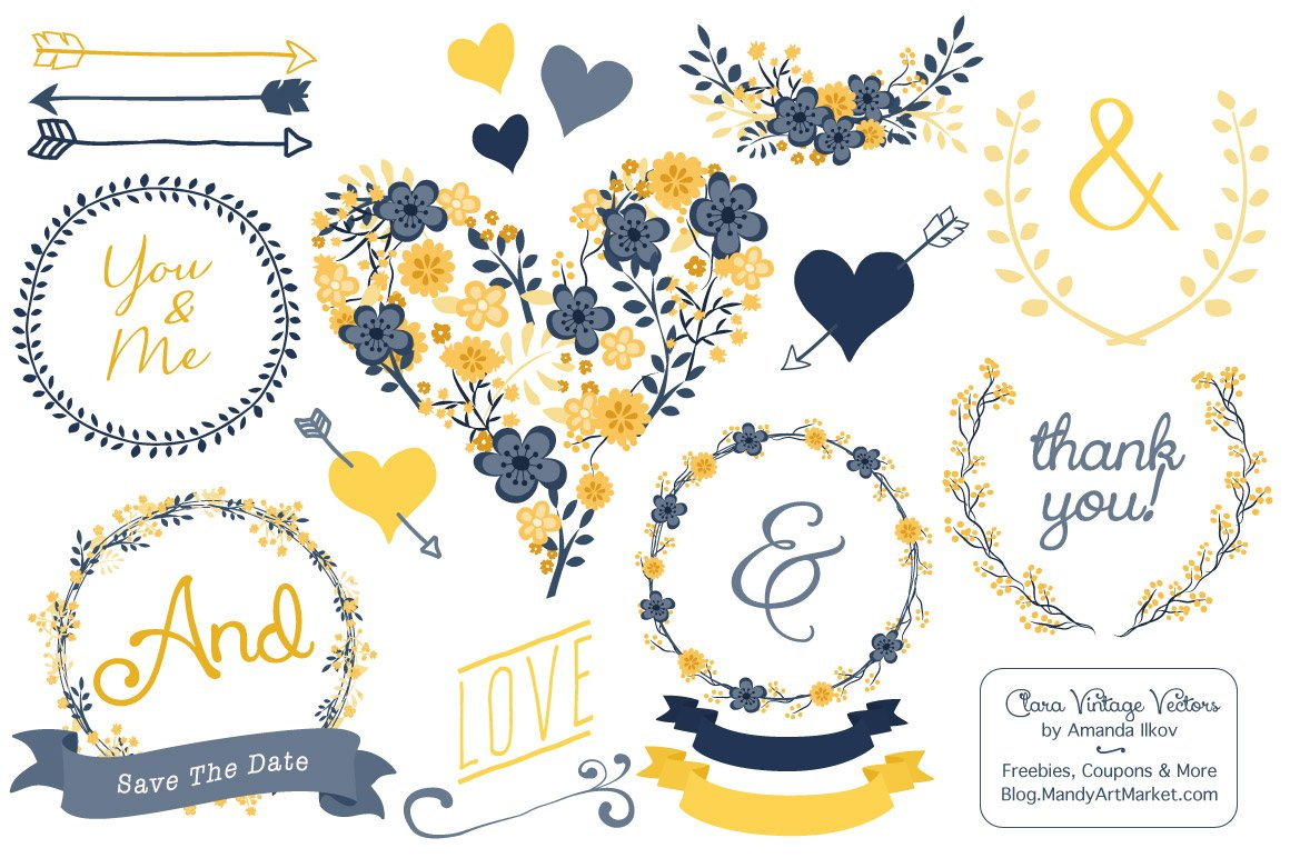 Navy & Yellow Floral Heart Clipart.