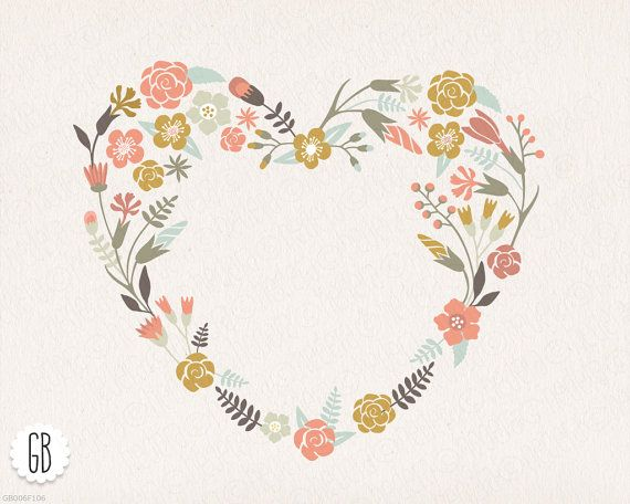 Floral wreaths heart antlers, pastel color, clip art, vector.