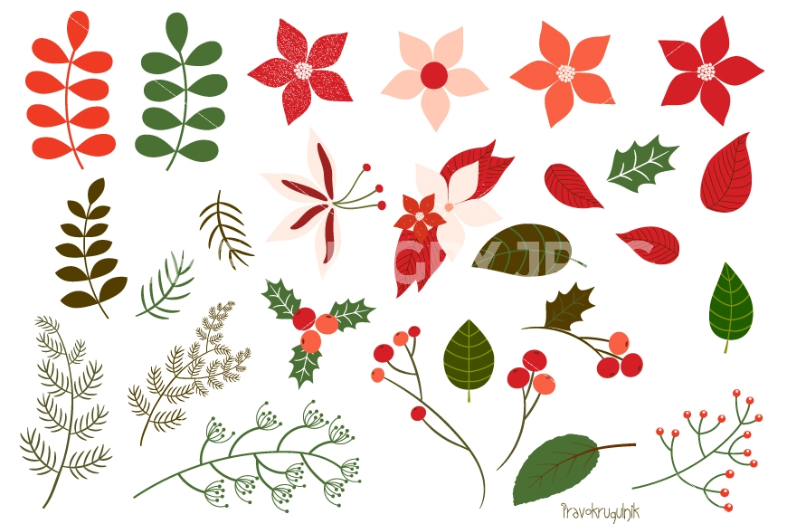 Christmas foliage clipart set, Christmas flowers clip art.