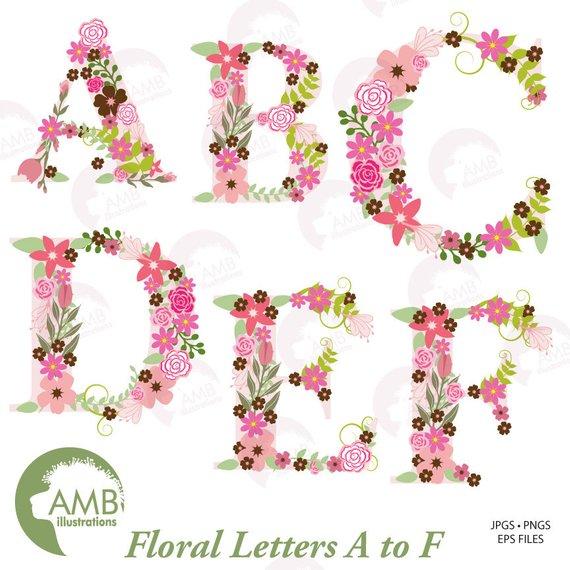 Floral Alphabet clipart, Alphabet clipart Letters A to F, Floral.
