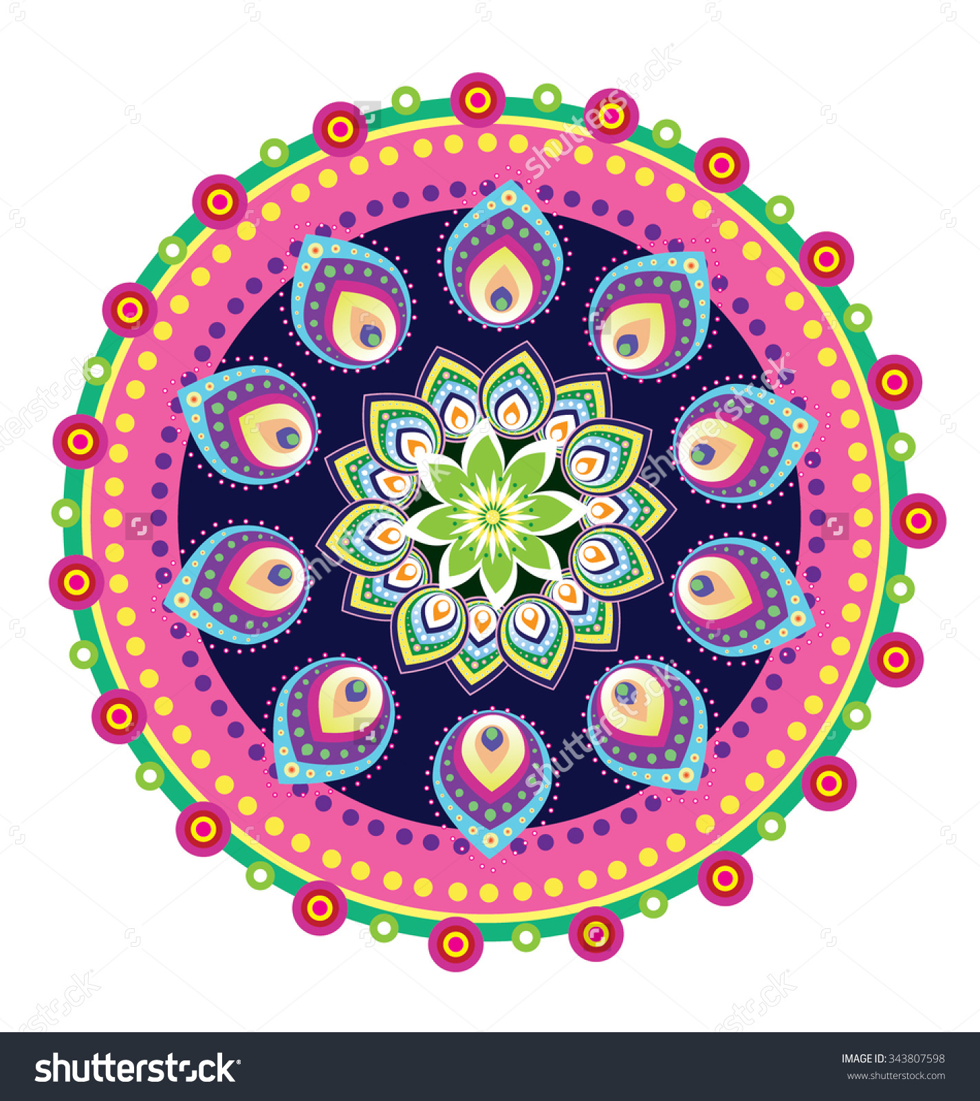 Mandala Flower Vector Stock Vector 343807598.