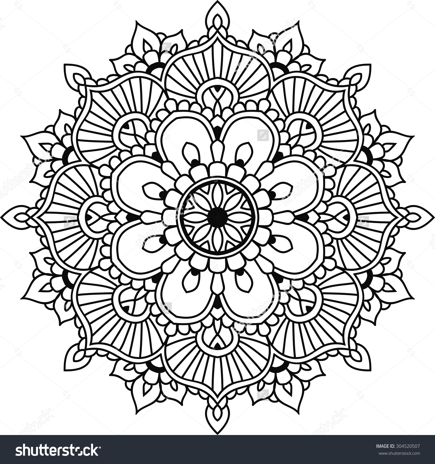 Simple Floral Mandala Design Mehendi Stock Vector 304520507.