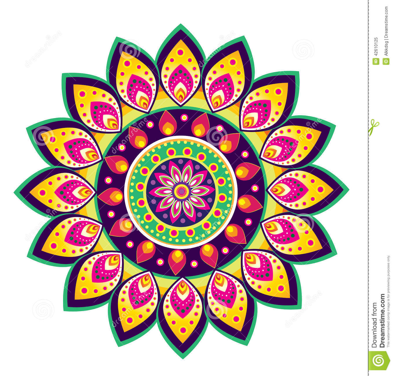 Flower Pattern Mandala Stock Vector.