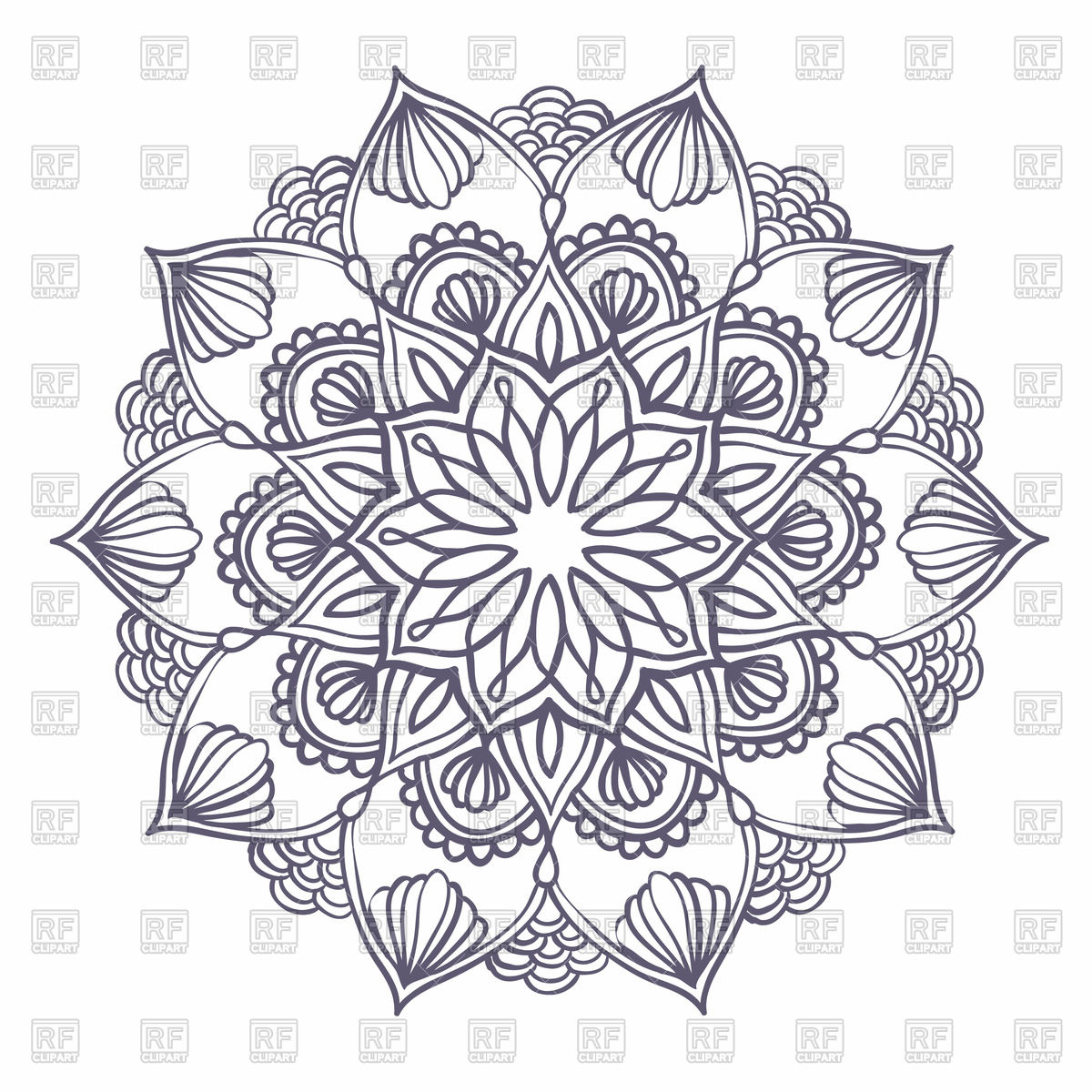 Ornamental round pattern with floral elements.