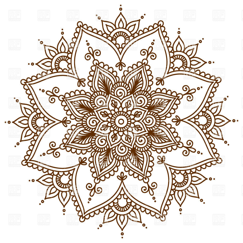 Brown round floral mandala, download royalty.