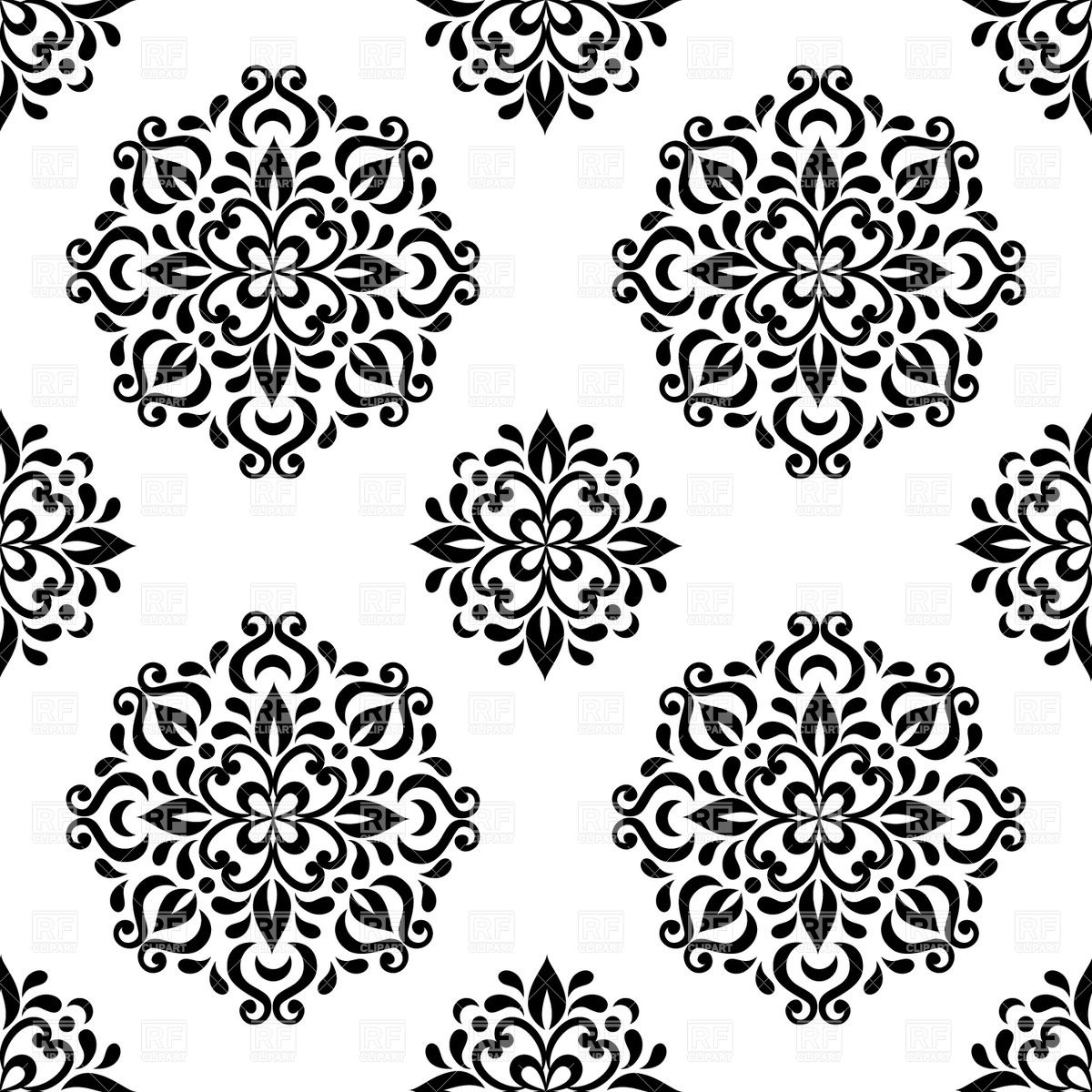 Black and white seamless floral wallpaper.