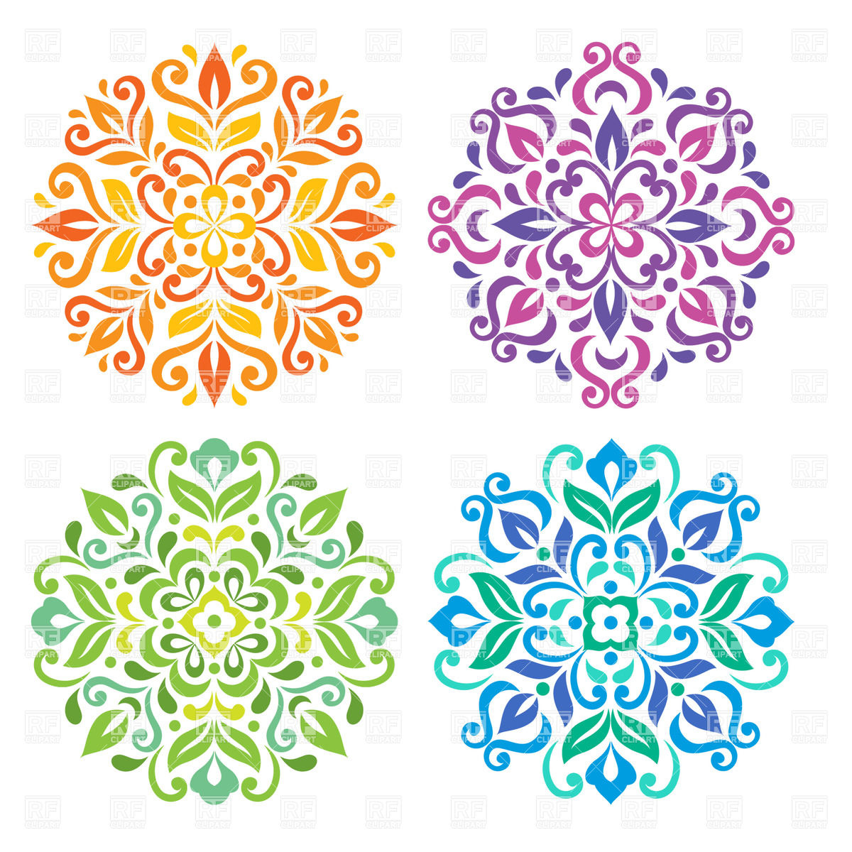 Simple mandala flower clipart.