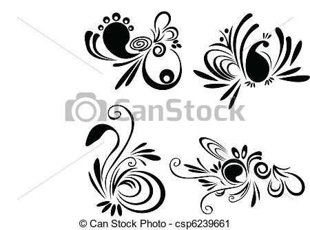 Vector Clip Art of Design elements,and floral motifs. Also as.