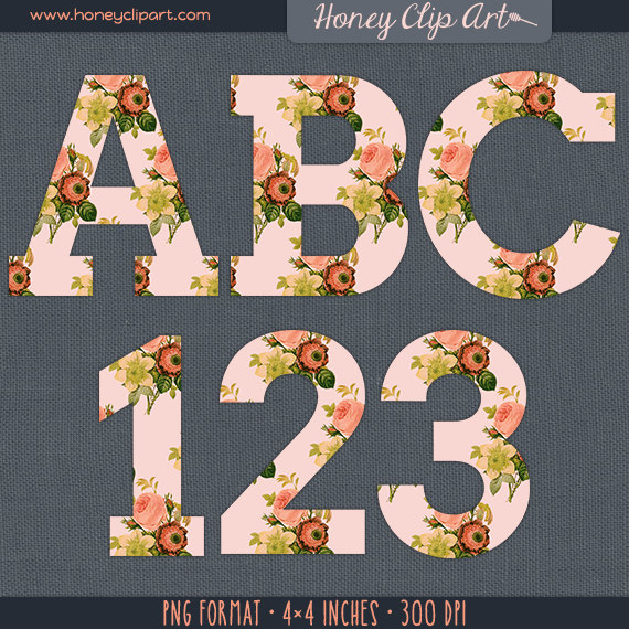 Shabby Vintage Pink Floral Letter Clipart Pink Rose Alphabet.