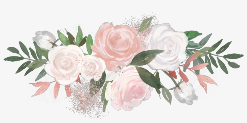 Flower Overlay Rose Aesthetic Painting Pink Green White.