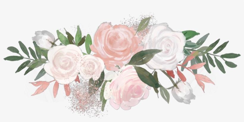 Flower Overlay Rose Aesthetic Painting Pink Green White.